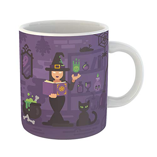Emvency Coffee Tea Mug Gift 11 Ounces Funny Ceramic Witch in Her House Studying Magic Young Sorceress Casting Spell Trick Treat Gifts For Family Friends Coworkers Boss Mug ()