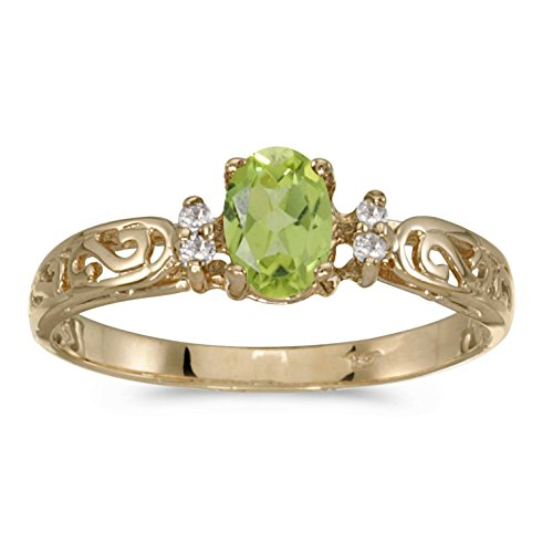 FB Jewels 14k Yellow Gold Genuine Green Birthstone Solitaire Oval Peridot And Diamond Filagree Wedding Engagement Statement Ring - Size 4.5 (2/5 Cttw.) ()