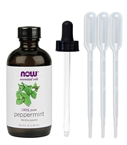 NOW Foods, Peppermint Oil 4 oz (w/ Glass Dropper) Energizing Mint Essential Oil