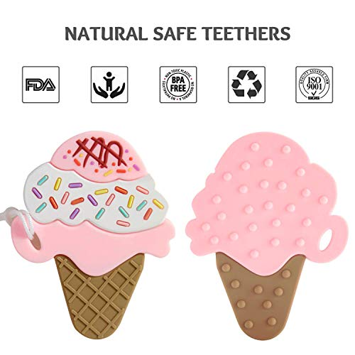 41KJjZOB%2BEL - Baby Teething Toys, Silicone Ice Cream Shape Teether With Relief Beads Binky Holder And Pacifier Clips For Toddlers & Infant (Pink)