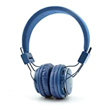 GranVela Q8 Lightweight Foldable Wireless Bluetooth On-Ear Headphones with Microphone, Micro SD Card Player, FM Radio and 3.5mm Detachable Cable Stereo Headset - Deep Blue