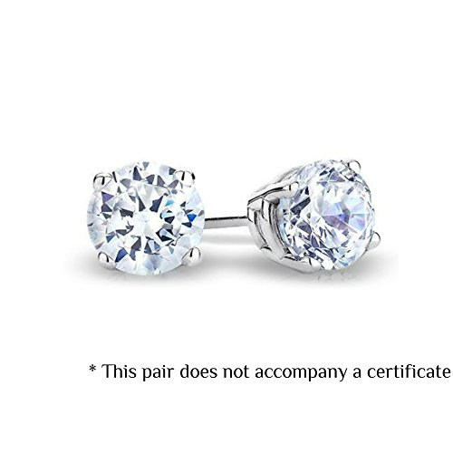 14k White Gold Round Diamond Earrings (Color- KLMN, Clarity I3/I4) (Promo) (0.05 Carat) ()