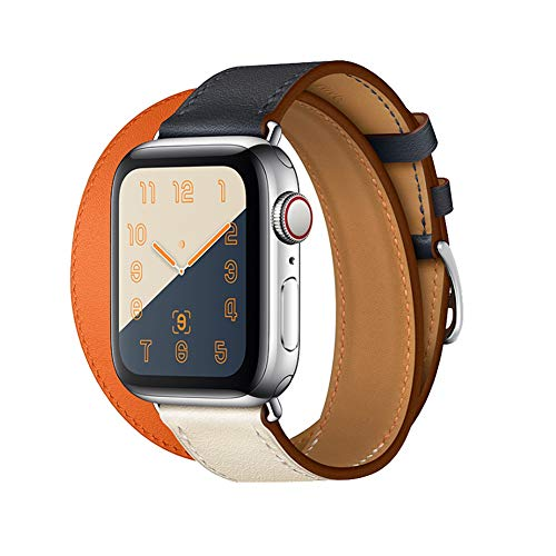 Replacement Band Compatible with Apple Watch Band 44mm iWatch Series 4, Genuine Leather Muti-Color Double Tour Bracelet Wrist Strap Wristband With Class Clasp For Men Women (Indigo/Craie/Orange, 44mm)