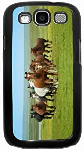 Rikki KnightTM Horses Running - Black Hard Rubber TPU Case Cover for Samsung? Galaxy i9300 Galaxy S3