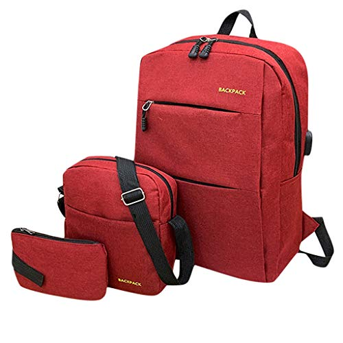 (ONLY TOP School Backpack, Student Canvas Bookbag Lightweight Laptop Bag with Shoulder Bags and Pen Case for Teen Red)
