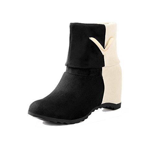 AgooLar Damen Ziehen auf Mittler Absatz Mattglasbirne Gemischte Farbe Rund Zehe Stiefel, Orange, 36