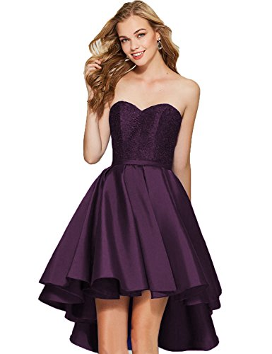 f3d19a0167 Sweetheart Short Prom Homecoming Dress Strapless High-Low Satin Party Gown  Lace up