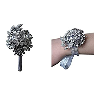 Prettybuy Luxurious Premium Wedding Prom Rose Satin Flower w/ Sparkling Rhinestones Wrist Corsage Flower & Boutonniere Pin ([578] Set) 41