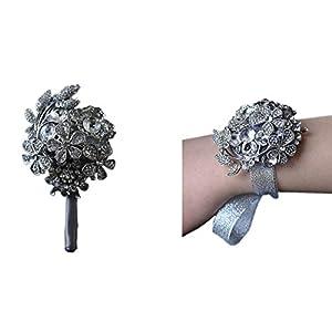 Silk Flower Arrangements Prettybuy Luxurious Premium Wedding Prom Rose Satin Flower w/Sparkling Rhinestones Wrist Corsage Flower & Boutonniere Pin ([578] Set)