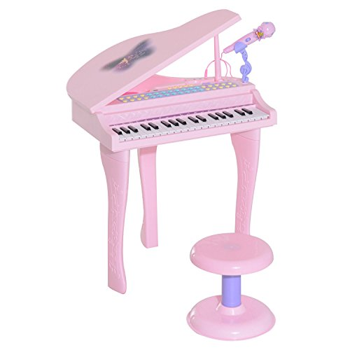 Qaba 37 Key Kids Toy Baby Grand Digital Piano with Microphone and Stool - Pink