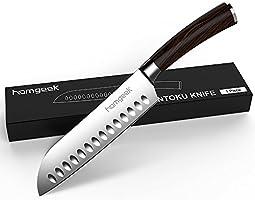 "Homgeek Sharpen Knives 7"" Santoku Kitchen Knife,German High Carbon Stainless Steel,Anti-Corrosion and Anti-Tarnish Blade"