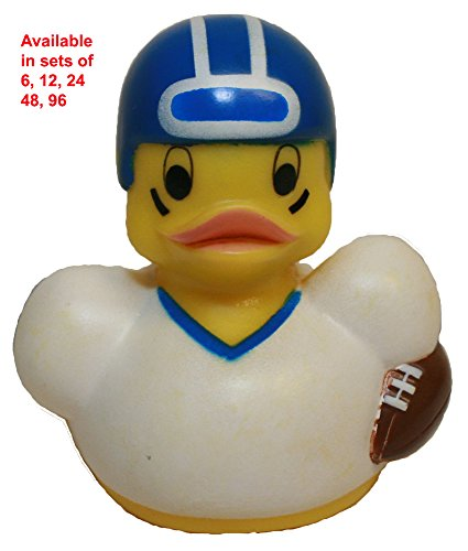 Rubber Duck Football Player, Waddlers Brand, Bulk 6,12,24, 48, 96 Pc Pack, Authentic Design of Expressing American Sports Football Playing Rubber Ducky That Floats Upright (6)