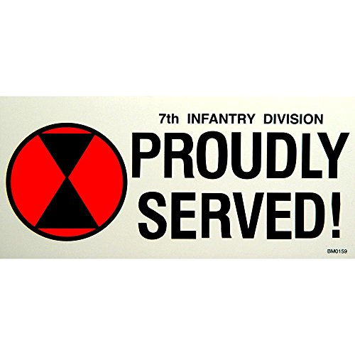 7th Infantry Division Proudly Served Bumper Sticker - Division Sticker Served Proudly Bumper