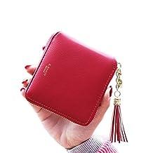 Badiya Zipper Purse Tassels Credit Card Holder Small Wallet for Women