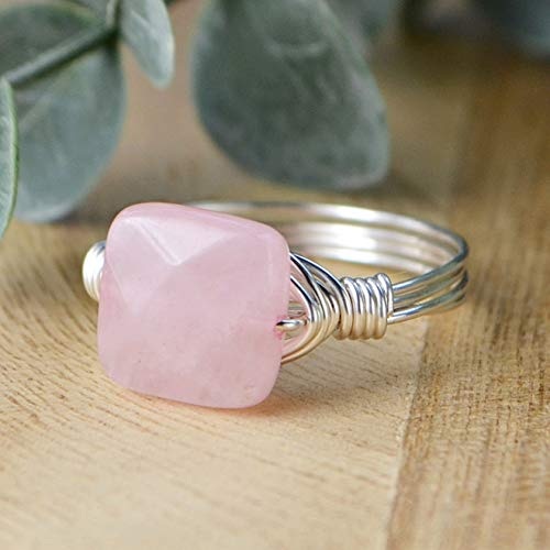 Faceted 14kt Gold Handmade Ring - Faceted Rose Quartz Square Gemstone Bead and Sterling Silver or Gold Filled Wire Wrapped Ring- Made to size 4-14