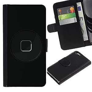 WINCASE Cuadro Funda Voltear Cuero Ranura Tarjetas TPU Carcasas Protectora Cover Case Para Apple Iphone 5 / 5S - arte moderno negro botón de arranque