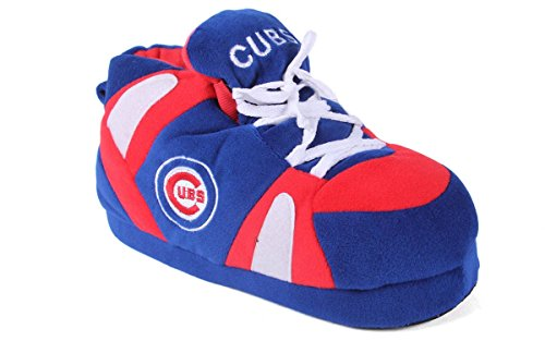 Comfy Feet Happy Feet and Mens and Womens Officially Licensed MLB Sneaker Slippers Chicago Cubs