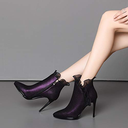 Mujer Púrpura Puntiagudos Tacón Cremallera Tacones Lateral Estiletes Para Encaje Moda Cuero Sweaay De Botines YOqSwxX