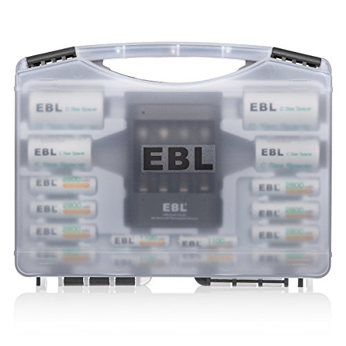 EBL Battery Sets 02 - EBL Rechargeable Batteries Combo(8 AA Batteries + 4 AAA Batteries) with 40Min iQuick Battery Charger and 2Pcs C/D Converters with Battery Storage Organizer