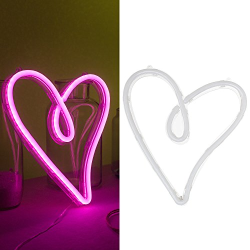 Ling S Moment Neon Lights Pink Heart Shaped Sign Powered By Battery Or Usb  Wedding  Bridal Shower  Girls Bedroom Decoration  Beach  Recreational Game Room Decor