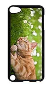 Ipod 5 Case,MOKSHOP Awesome cat sleep in grass Hard Case Protective Shell Cell Phone Cover For Ipod 5 - PC Black