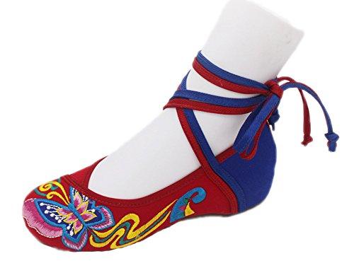 Avacostume Femmes Broderie Classiques Papillon Cheongsam Chaussures Plates Rouge + Bleu