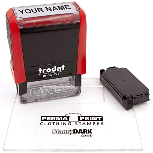 Fabric Stamp - Trodat 4911 Clothing Stamp with StampDARK Tool and Extra Replacement pad- Customize Online
