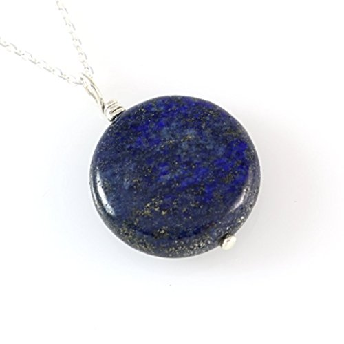 Natural Cottage Rocker - Natural Round Dark Blue Lapis Gemstone Silver Wire Bail Pendant Necklace 16'' (39cm) Silver Quality Chain