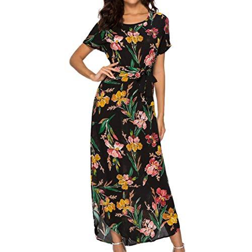 Women Sexy Retro Floral Round Neck Waist Long Flowy Beach Maxi Dress Floor-Length Sundress with Belt JHKUNO Black]()
