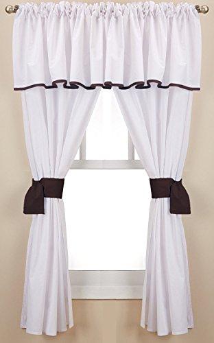 Baby Doll Bedding Forever Mine Junior 5 Piece Window Valance Curtain Set, Chocolate ()