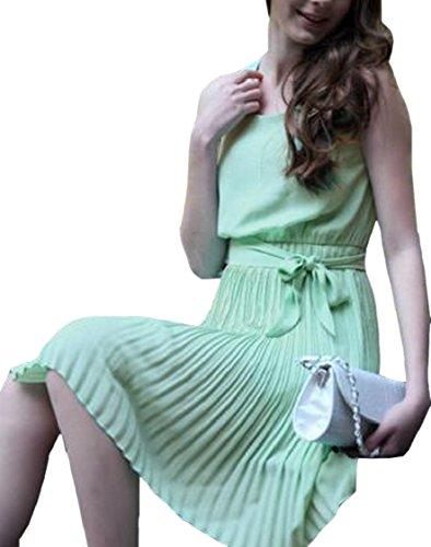 Senza Jaycargogo Cintura Estate Chiffon Maniche Vestito Donne Bowknot Cocktail Verde Leggero Scollo Di Con Increspato xqnfrUqC0w