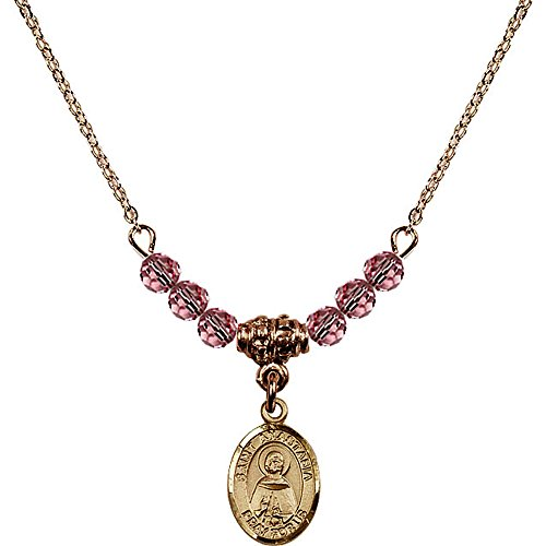 Anastasia 4 Light Pendant (18-Inch Hamilton Gold Plated Necklace with 4mm Light Rose Pink October Birth Month Stone Beads and Saint Anastasia Charm)