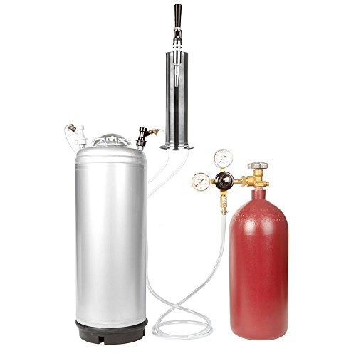 Nitro Coffee Cold Brew Coffee Keg Kit - 5 Gallon Keg, 40 cu ft Nitrogen Tank, Tap, All Accessories