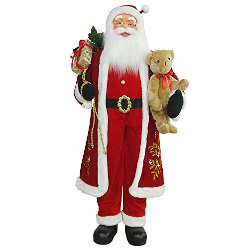 Northlight 5' Life-Size Standing Santa Claus Christmas Figure with Teddy Bear and Gift Bag