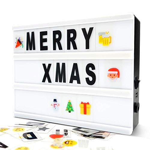 (Cinema Light Box- A5 Magnetic Led Light Box with 160 Letters Numbers and Symbols-Customized Your Own Message for Home Decoration/Wedding/Birthday)
