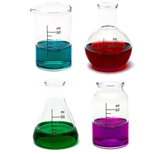 CKB Ltd Set Of 4 - Laboratory Chemistry Shot Glasses Drinks Shooters 50Ml - Science Themed Novelty Lab Shaped Beaker & Flask]()