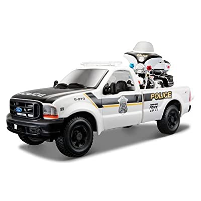 Maisto 1999 Ford F-350 Super Duty Pickup Truck 1/27 and 1/24 2004 Harley Davidson FLHTPI Electra Glide Motorcycle Police: Toys & Games