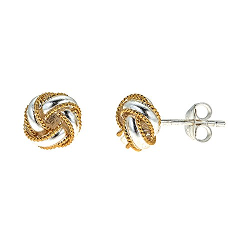 Knot Two Tone Ring - Ritastephens Sterling Silver Gold Overlay Love Knot Loveknot Stud Earrings two tone 8mm