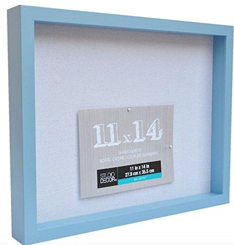 11 X 14 Mineral Blue Shadow Box Display Case Heavy Wood Frame 1