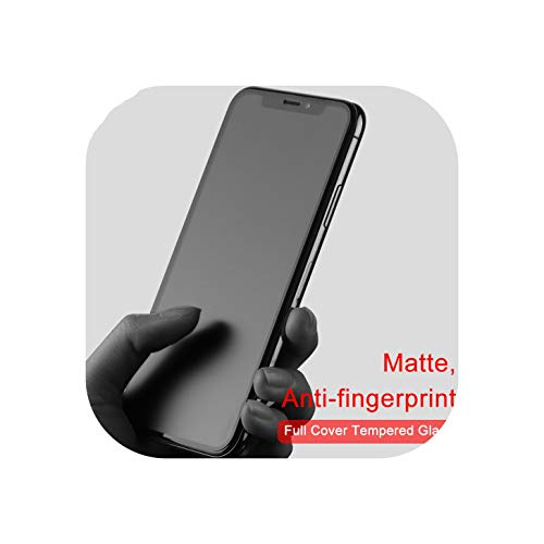 No Fingerprint Full Cover Matte Tempered Glass for iPhone X 8 7 6S Plus Screen Protector Frosted Glass for iPhone Xs MAX XR Film,for iPhone 8,Purple Matte White