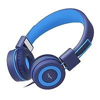 Elecder i37 Kids Headphones Children Girls Boys Teens Adults Foldable Adjustable On Ear Headsets 3.5mm Jack Compatible iPad Cellphones Computer MP3/4 Kindle Airplane School Tablet Blue/Light Blue