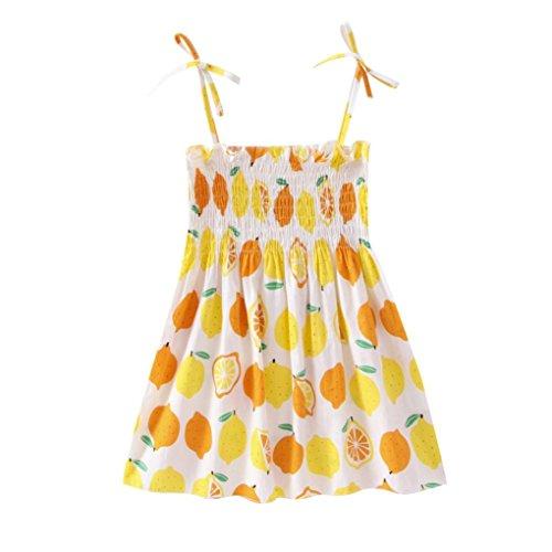Jarsh Toddler Baby Girls Cartoon Lemon Little Flower Printed Tops Dress Halter Dresses