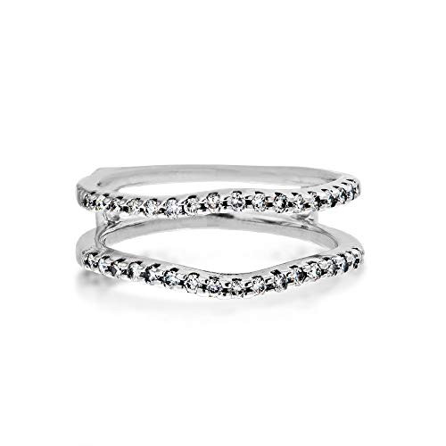 1/4 ct. tw. Diamond Pave Curved Ring Enhancer in 14K White Gold - WHW1664D
