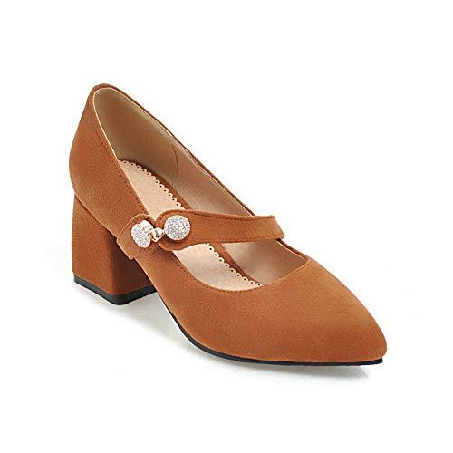 BalaMasa Womens Nubuck Beaded Casual Urethane Pumps Shoes APL10623 Yellow