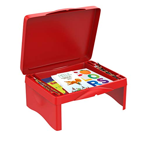 or Kids-Folding Collapsible Portable Table with Storage for Paper, Pencils, Books-Kids Activity Tray for Writing, Crafts, Art ()