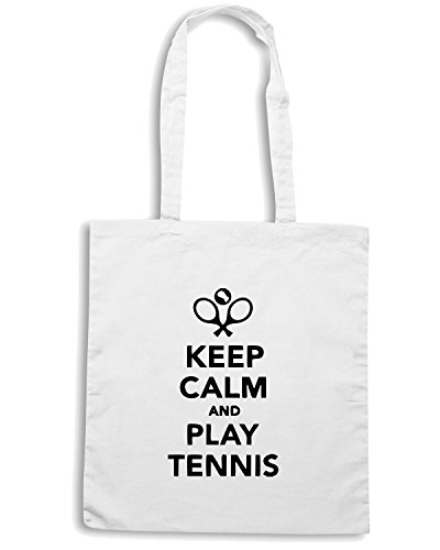 T-Shirtshock - Bolsa para la compra OLDENG00151 keep calm and play tennis Blanco