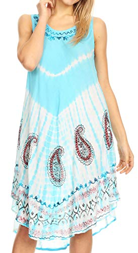 Sakkas 18152 - Violeta Women's Tie Dye Paisley Caftan Midi Sleeveless Tank Dress Cover Up - Turq - OS