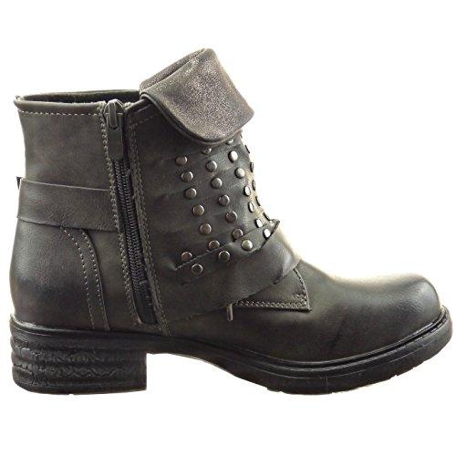 Sopily Damen Mode Schuhe Stiefeletten Biker Nieten - Besetzt Reißverschluss - Grau