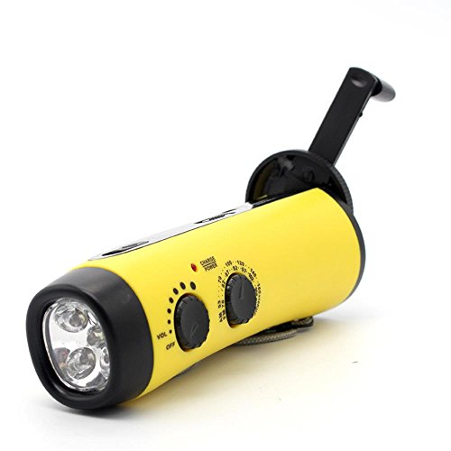 Dynamo 5 Led Light - Frostory Emergency Power 5-LED Flashlight Hand Crank Dynamo with AM/FM Siren Radio Cellphone Charger for Survival Camping Hiking 300FS (Yellow)