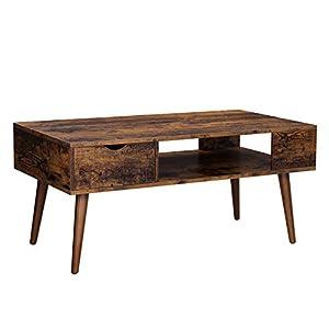 VASAGLE Table Basse avec rangements, tiroir, Compartiment Ouvert, Pieds Longs, pour Salon, Salle à Manger, 100 x 50 x 45…